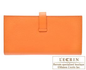 Hermes Bearn Soufflet Orange Chevre myzore goatskin Gold hardware