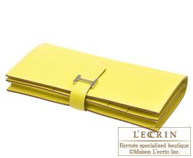 Hermes Bearn Soufflet Lime/Lime yellow Chevre myzore goatskin Silver hardware