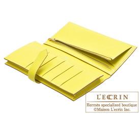 Hermes Bearn Soufflet Lime/Lime yellow Chevre myzore goatskin Gold hardware