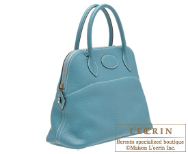 Hermes Bolide bag 31 Blue jean Clemence leather Silver hardware