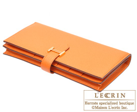 Hermes Bearn Soufflet Orange Epsom leather Gold hardware