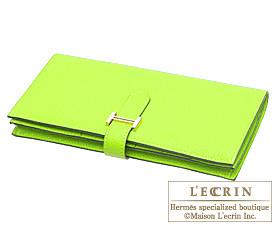 Hermes Bearn Soufflet Kiwi/Kiwi green Chevre myzore goatskin Gold hardware