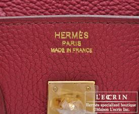 Hermes Birkin bag 25 Ruby Togo leather Gold hardware