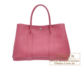 Hermes Garden Party bag PM Tosca Fjord leather Silver hardware