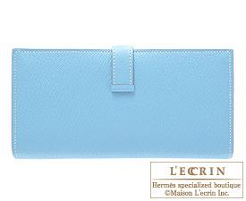 Hermes Bearn Soufflet Celeste/Celeste blue Chevre myzore goatskin Silver hardware