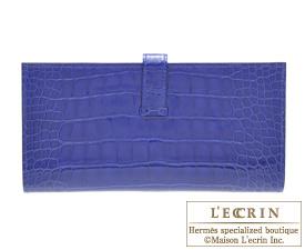 Hermes Bearn Soufflet Blue electric Alligator crocodile skin Gold hardware