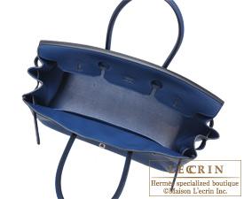 7a4bc15766 Hermes Birkin bag 35 Blue de malte Dark blue Togo leather Silver ...