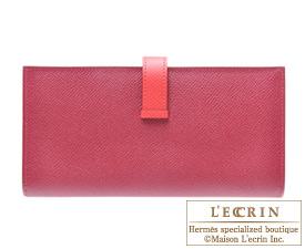 Hermes Bearn Soufflet Bougainvillier/Ruby Epsom leather Silver hardware