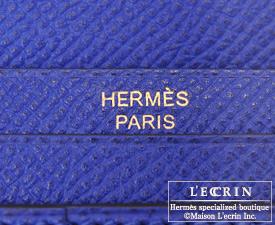 Hermes Bearn Soufflet Blue electric Epsom leather Gold hardware