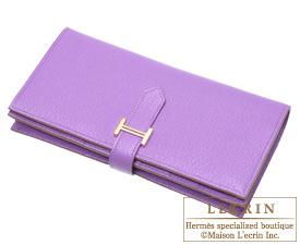 Hermes Bearn Soufflet Parme/Parma violet Chevre myzore goatskin Gold hardware