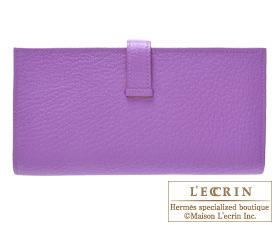 Hermes Bearn Soufflet Parme/Parma violet Chevre myzore goatskin Silver hardware