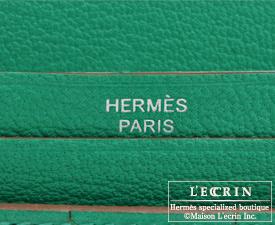 Hermes Bearn Soufflet Menthe Chevre myzore goatskin Silver hardware