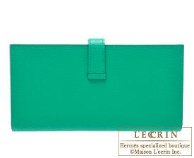Hermes Bearn Soufflet Menthe/Mint green Chevre myzore goatskin Gold hardware