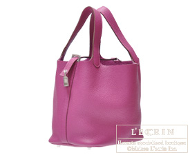 Hermes Picotin Lock bag PM Tosca Clemence leather Silver hardware