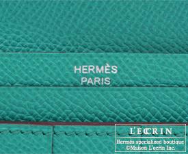 Hermes Bearn Soufflet Blue paon Epsom leather Silver hardware
