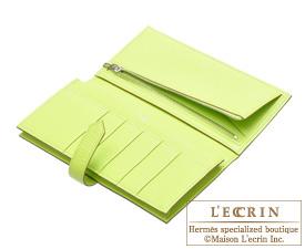 Hermes Bearn Soufflet Kiwi/Kiwi green Chevre myzore goatskin Silver hardware