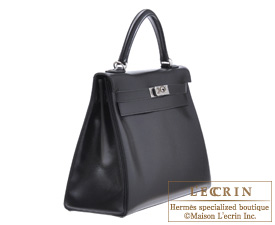 Hermes Kelly bag 32 Black Box calf leather Silver hardware