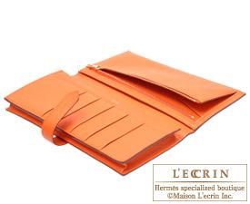 Hermes Bearn Soufflet Feu/Fire orange Chevre myzore goatskin Gold hardware