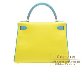 Hermes Kelly bag 28 Lime/Turquoise blue Chevre myzore goatskin Silver hardware