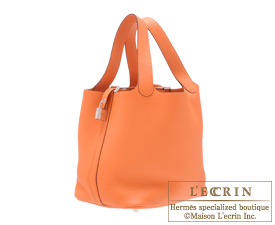 Hermes Birkin bag 30 Orange Clemence leather Silver hardware