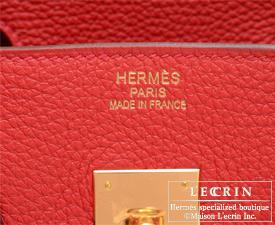 Hermes Birkin bag 35 Geranium/Geranium red Togo leather Gold hardware