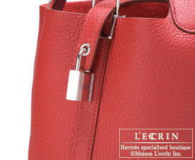 Hermes Picotin Lock bag PM Ruby Clemence leather Silver hardware