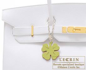 Hermes Lucky four Anis green/Orange Chevre goatskin Silver hardware