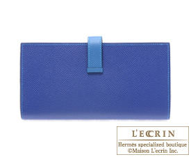 Hermes Bearn Soufflet Blue electric/Mykonos Epsom leather Silver hardware