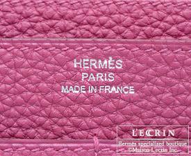 HERMES WALLET DOGON Tosca Togo leather Silver hardware