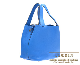 Hermes Birkin bag 30 Blue hydra Clemence leather Silver hardware