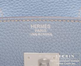 Hermes Birkin bag 30 Blue lin Clemence leather Silver hardware