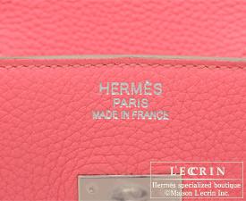 Hermes Birkin bag 35 Rose lipstick Togo leather Silver hardware
