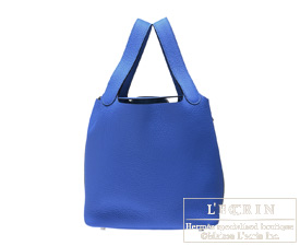 Hermes Birkin bag 30 Blue electric Clemence leather Silver hardware