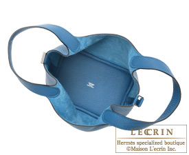 Hermes Picotin Lock bag PM Blue thalassa Clemence leather Silver hardware