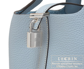Hermes Picotin Lock bag PM Blue lin/Linen blue Clemence leather Silver hardware