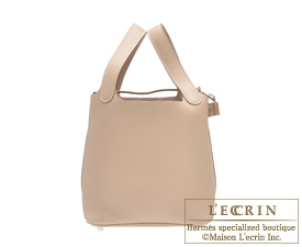 Hermes Picotin Lock bag PM Argile beige Clemence leather Silver hardware