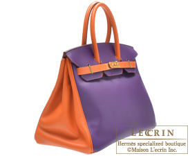 replica handbags made in china - Hermes Personal Birkin bag 35 Ultraviolet/Orange Swift leather Mat ...