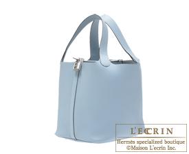 Hermes Birkin bag 30 Blue lin/Linen blue Clemence leather Silver hardware