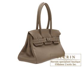 0f45aebecc4 ... Hermes JPG Shoulder Birkin bag 30 Etoupe grey Taupe grey Togo leather  Silver hardware