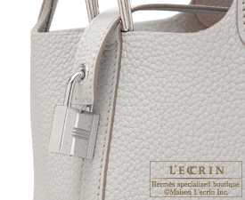 Hermes Picotin Lock bag PM Pearl grey/Gris perle Clemence leather Silver hardware