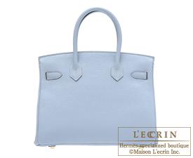 Hermes Birkin bag 30 Blue lin Clemence leather Gold hardware