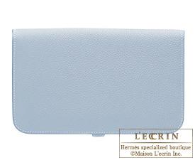 Hermes Dogon GM Blue lin/Linen blue Togo leather Gold hardware