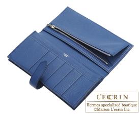 Hermes Bearn Soufflet Blue hydra/Blue saphir Chevre myzore goatskin Silver hardware