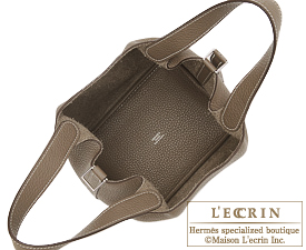 Hermes Picotin Lock bag GM Etoupe grey/Taupe grey Clemence leather Silver hardware