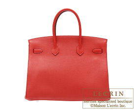 Hermes Birkin bag 35 Rouge casaque/Bright red Clemence leather Silver hardware
