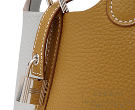 Hermes Picotin Lock casaque bag PM Pearl grey/Kraft Clemence leather Silver hardware