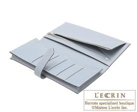 Hermes Bearn Soufflet Blue lin Epsom leather Silver hardware