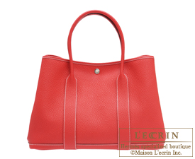 Hermes Garden Party bag PM Rouge casaque Country leather Silver hardware