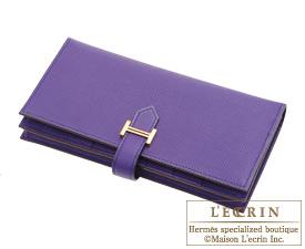 Hermes Bearn Soufflet Crocus Epsom leather Gold hardware