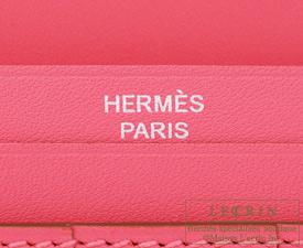 Hermes Bearn Soufflet Rose lipstick Tadelakt leather Silver hardware